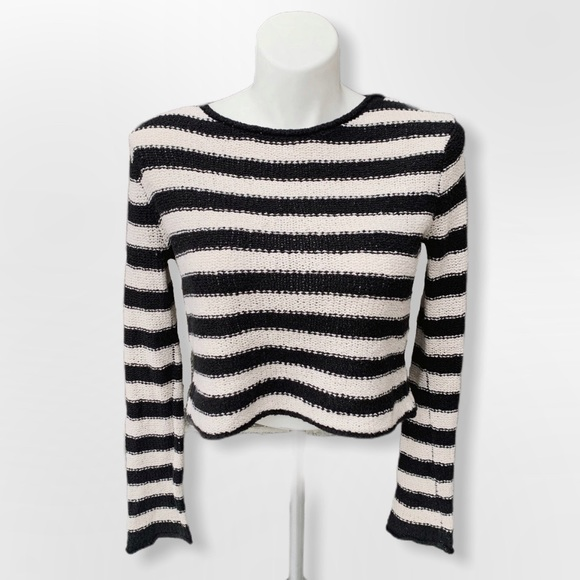Free People Beach Black & White striped sweater